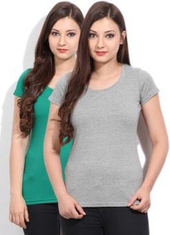 Fort Collins Solid Women's Round Neck Grey, Green T-Shirt