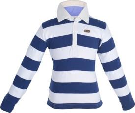 Gkidz Striped Boy's Polo Neck Dark Blue T-Shirt