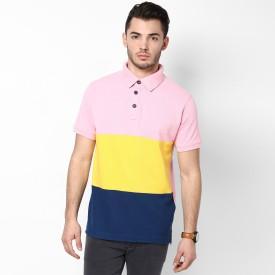Haute Couture Cut & Sew Striped Men's Polo Neck T-Shirt