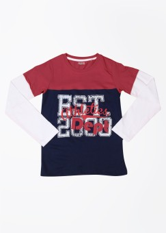 People Printed Boy's Round Neck Dark Blue, Red T-Shirt
