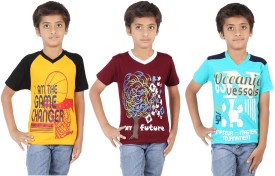 Maringo Classic Printed Boy's Round Neck, V-neck T-Shirt Pack Of 3