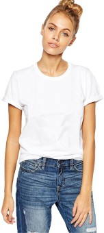 Young Trendz Solid Women's Round Neck White T-Shirt