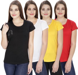 NGT Solid Women's Round Neck White, Red, Yellow, Black T-Shirt Pack Of 4