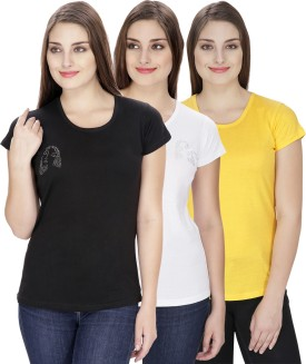 NGT Solid Women's Round Neck White, Black, Yellow T-Shirt Pack Of 3