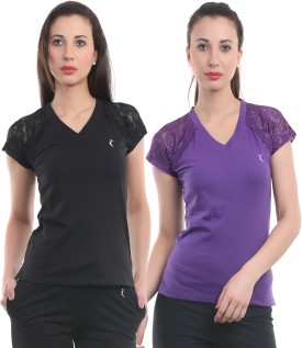 Ultrafit Solid Women's V-neck Purple, Black T-Shirt Pack Of 2
