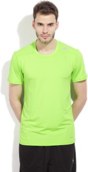 Adidas Solid Men's Round Neck Light Green T-shirt
