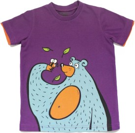 Alicia Souza Purple Animal Print Boy's Round Neck Reversible T-Shirt