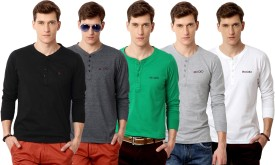 Rodid Solid Men's Henley Black, Grey, Green, Grey, White T-Shirt Pack Of 5