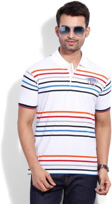 Duke Duke Striped Men's Polo T-Shirt (White)