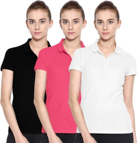 Polo Nation Solid Women's Polo Neck White, Pink, Black T-Shirt Pack Of 3