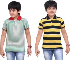 Dongli Striped Baby Boy's Polo Neck Green, Yellow T-Shirt Pack Of 2