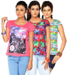 Jazzup Printed Women's Round Neck T-Shirt Pack Of 3 - TSHE8ESQCQZMPHYC