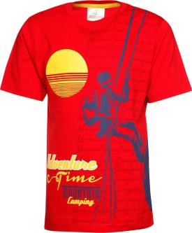 Joshua Tree Printed Boy's Round Neck Red T-Shirt