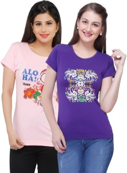 Jazzup Printed Women's Round Neck Purple, Pink T-Shirt Pack Of 2