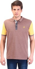 TAG 7 Solid Men's Polo Neck Brown T-Shirt