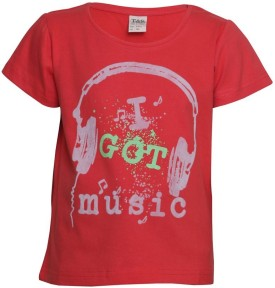 Tales & Stories Printed Boy's Round Neck Red T-Shirt