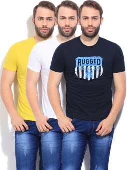 Fort Collins Printed Men's Round Neck White, Blue, Yellow T-Shirt Pack Of 3