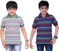 Dongli Striped Baby Boy's Polo Neck White, Blue T-Shirt (Pack Of 2)