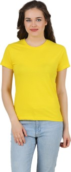 Girlful Solid Women's Round Neck Yellow T-Shirt