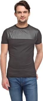 Wear Your Mind Geometric Print Men's Round Neck Black T-Shirt
