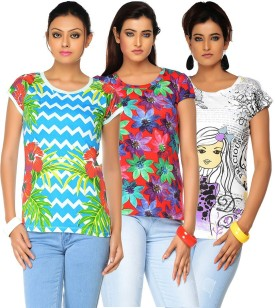 Jazzup Printed Women's Round Neck T-Shirt Pack Of 3 - TSHE8ESQRB5QAJCT
