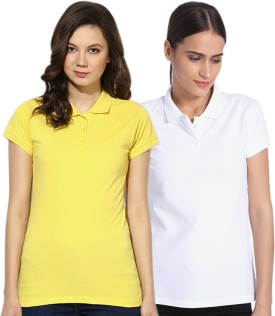 Go India Store Solid Women's Polo Neck White, Yellow T-Shirt Pack Of 2