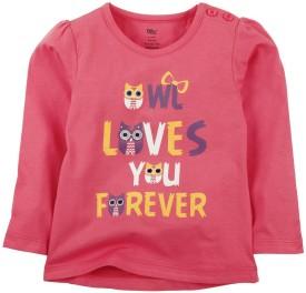 Oye Printed Girl's Round Neck Pink T-Shirt