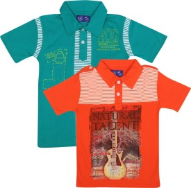 SPN Garments Printed Boy's Polo Neck Orange, Green T-Shirt
