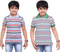 Dongli Striped Baby Boy's Polo Neck White, Grey T-Shirt (Pack Of 2)