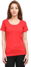 Tee Talkies Solid Women's Round Neck Red T-Shirt