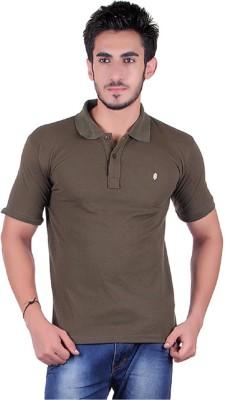 Plush Solid Men's Polo Neck T-Shirt