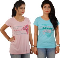 Tryd Printed Women's Round Neck T-Shirt - Pack Of 2