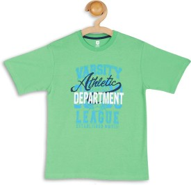 612 League Graphic Print Boy's Round Neck Green T-Shirt