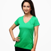 Happy Hippie Solid Women's V-neck T-Shirt