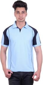 EX10 Solid Men's Polo Neck Light Blue T-Shirt