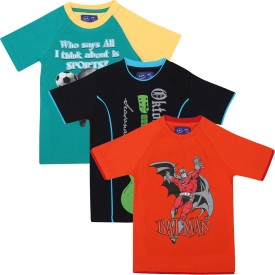 SPN Garments Printed Boy's Round Neck Orange, Green, Dark Blue T-Shirt Pack Of 3