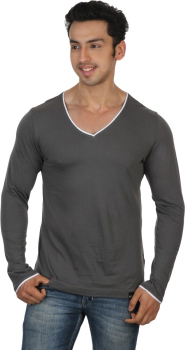 Rigo Light Grey Slim Fit White Piping Solid Men's V-neck T-Shirt
