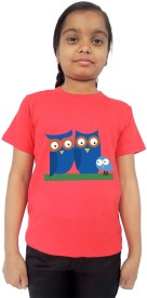 Trendster Printed Baby Girl's Round Neck Red T-Shirt
