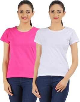 Ap'pulse Solid Women's Round Neck Pink, White T-Shirt Pack Of 2