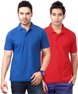 Top Notch Solid Men's Polo Neck Blue, Red T-Shirt Pack Of 2