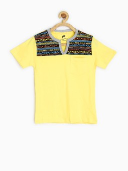 Yellow Kite Printed Boy's Round Neck Yellow T-Shirt