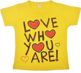 Kandyfloss Solid Baby Girl's Round Neck Yellow T-Shirt