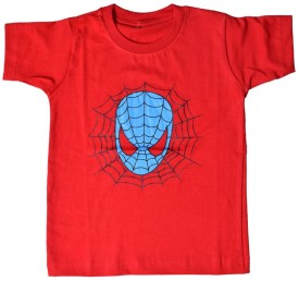 British Terminal Animal Print Boy's Round Neck Red T-Shirt