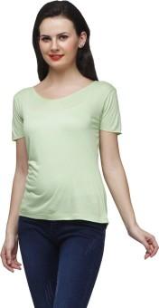 CHERYMOYA Solid Women's V-neck Green T-Shirt