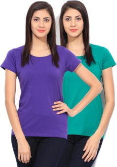 Fort Collins Solid Women's Round Neck Green, Purple T-Shirt Pack Of 2