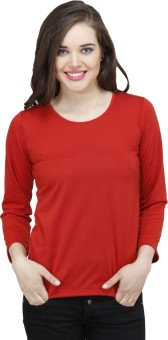 Osumfab Solid Women's Round Neck Reversible Red T-Shirt