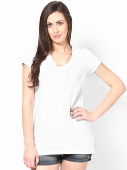 Femella Solid Women's V-neck T-Shirt