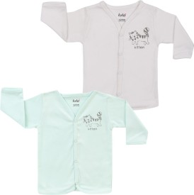 Lula Solid Baby Boy's Henley Green, White T-Shirt