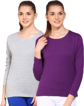 Ap'pulse Solid Women's Round Neck Grey, Purple T-Shirt Pack Of 2