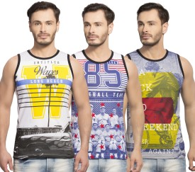 Maniac Printed Men's Round Neck White, Blue, Yellow T-Shirt Pack Of 3
